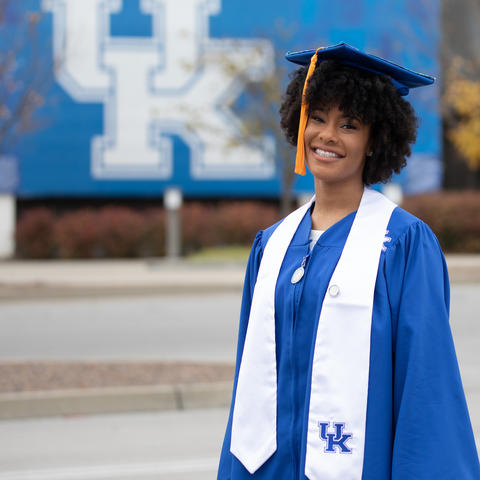 photo of Danielle Duncan in commencement cap and gown