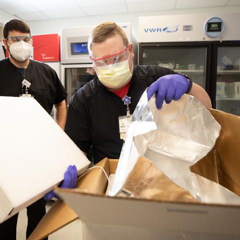 UK HealthCare Pharmacy received a mock shipment of Pfizer's COVID-19 vaccine Dec. 3 to test operational and logistics readiness for distribution. Mark Cornelison | UK Photo