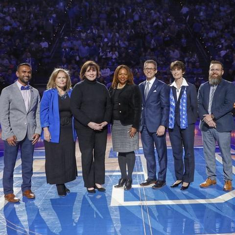 photo of the 2020 Great Teachers introduced during a UK basketball game at Rupp Arena.