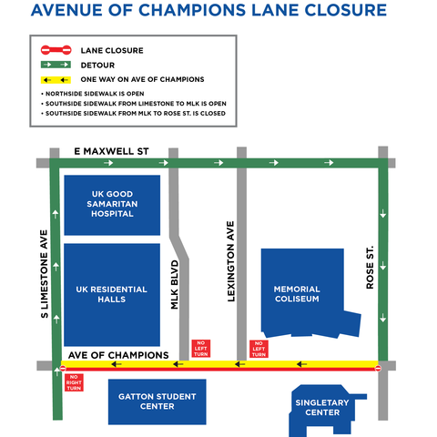 map showing one way of Avenue of Champions