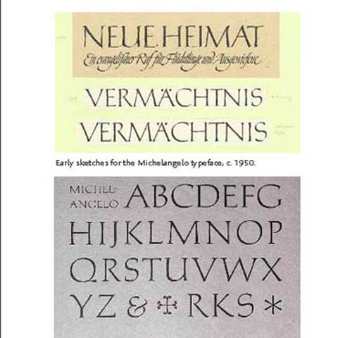 """photo of types by Hermann Zapf in """"About More Alphabets: The Types of Hermann Zapf"""" by Jerry Kelly"""