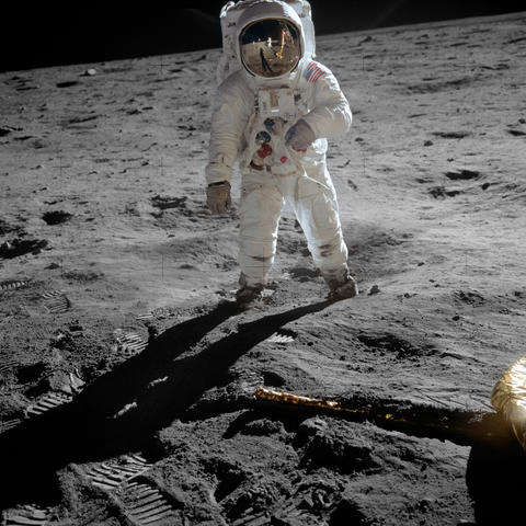 photo of Buzz Aldrin on the moon