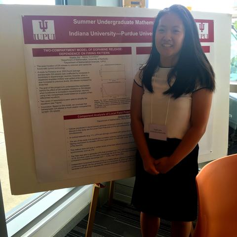 photo of Angela Wei presenting research as part of NSF-REU at IU