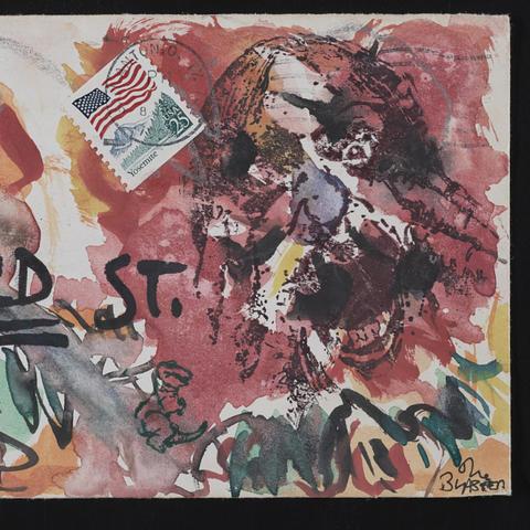 photo of Blaster Al Ackerman mail art to John Evans