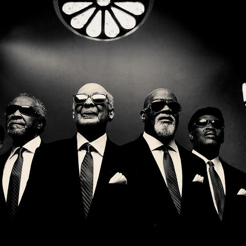 black and white photo of the 5 members of Blind Boys of Alabama