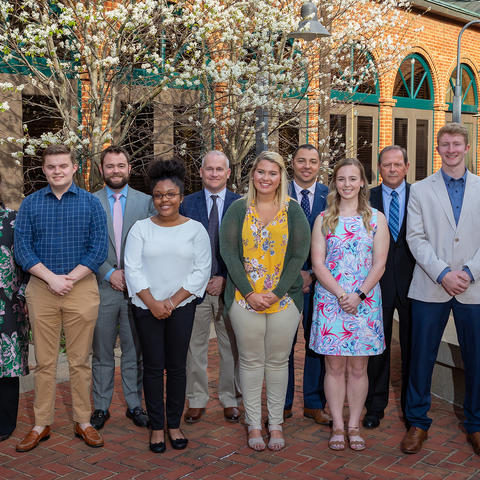 Recipients of the newly created First Breckinridge Bancshares LEADS scholarships met their donors on April 9 at the Boone Center to thank the bank presidents who funded their education.  (Photo by Mark Pearson, UK Alumni Association)