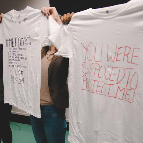 Photo of T-shirts made by survivors