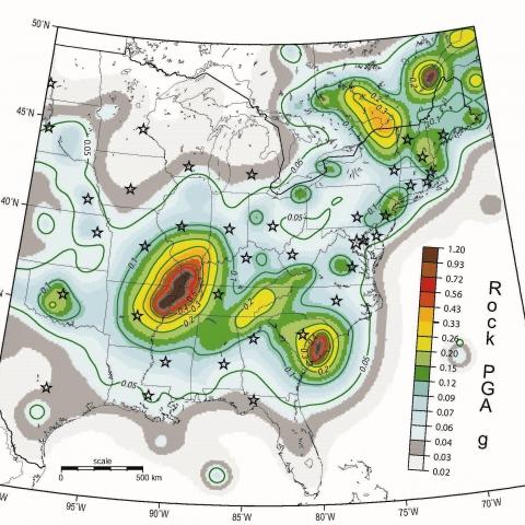Central U.S. seismic hazard map