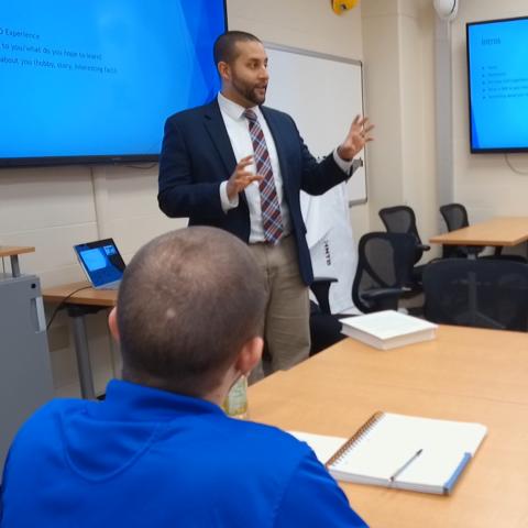 This is a photo of Gabriel Dadi teaching.