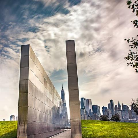 photo of Empty Sky Memorial with New York City in background
