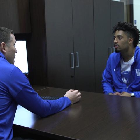 UK Academic Counselor Jon Ross talks with Stephen Johnson, UK Football Player