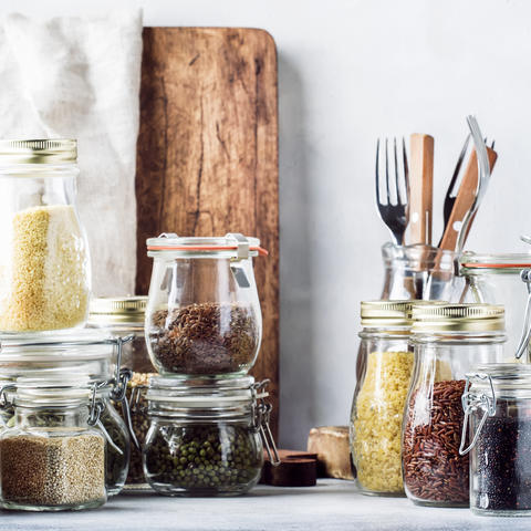 Pantry items in glass containers