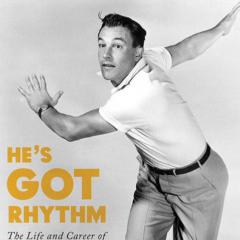 "photo of detail of cover of ""He's Got Rhythm: The Life and Career of Gene Kelly"" by Cynthia and Sara Brideson"