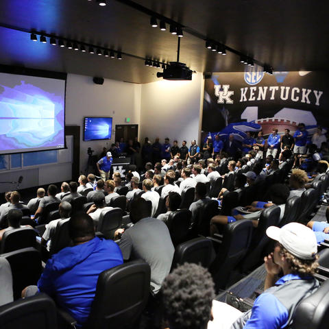 photo of screening room in Craft Football Training Facility