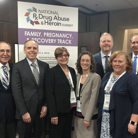 Left to right: Dr. Sharon Walsh, President Eli Capilouto, Dr. Seth Himelhoch, Dr. Alice Thornton, Dr. Laura Fanucchi, Dr. Michael Kindred, Nancy Jennings, Mark Birdwhistell and Holly Dye