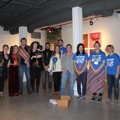 photo of winners of 2017 Carey Ellis Show and Art Graduate Student Association members