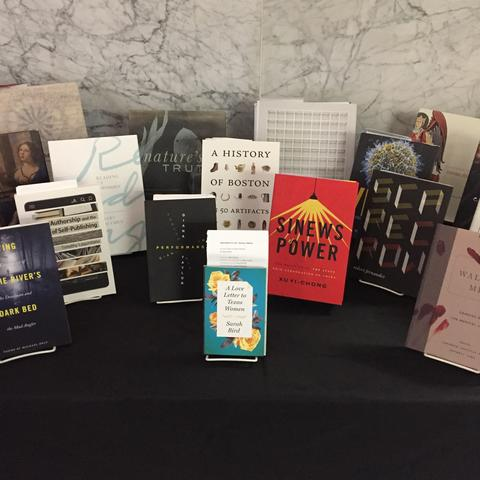 photo of book covers in the American Association of University Presses Book, Jacket, and Journal Show