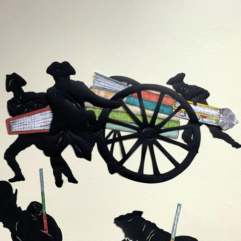 "detail image of soldiers moving canon from Ivy Johnson Fleming's mural ""A Call to Arms"""