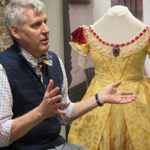 """photo of Nelson Fields with costume for """"Belle Brezing and the Gilded Age of the Bluegrass"""""""