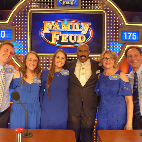 "photo of Konchel family and Steve Harve on ""Family Feud"""