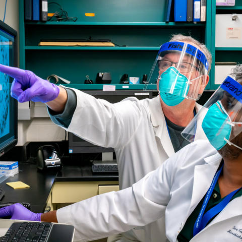 UK researchers Jerry Woodward and Siva Gandhapudi have received a CURE Alliance/CCTS pilot project grant to support their research on COVID-19 antibodies. Photo by Ben Corwin, Research Communications.