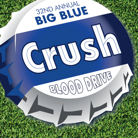 Graphic that says Big Blue Crush blood drive.  KY-TN Blood Battle Nov 18-22