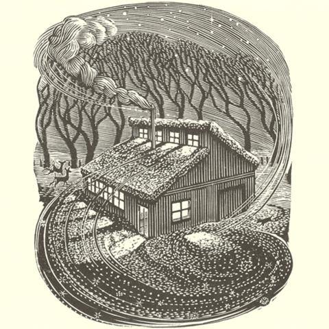 "photo of ""Larkspur Press"" wood engraving by Wesley Bates"
