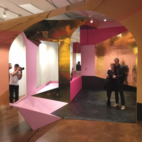 "photo of Liz Swanson and Mike McKay with ""Singularities"" at UK Art Museum"