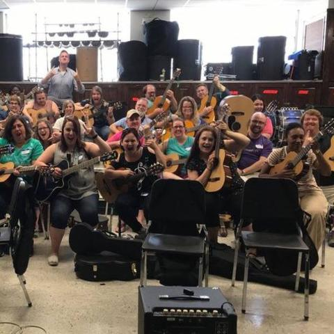 photo of Modern Band participants in 2018 in the Band Room at Fine Arts Building