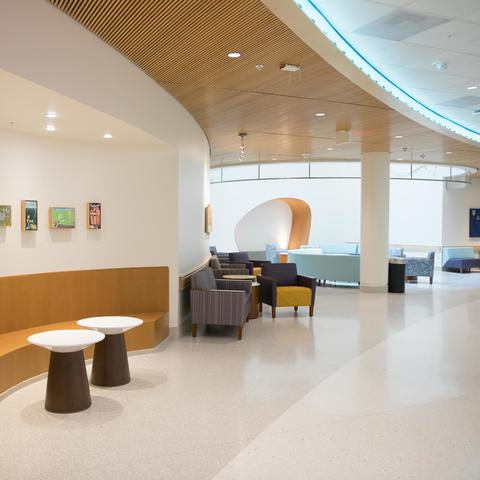Photo of the lobby area in the new Pediatric Sedation and Procedure Unit
