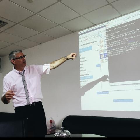 photo of Charles Pike teaching at Shanghai University as part of 2015 Shanghai University Elite Research Program