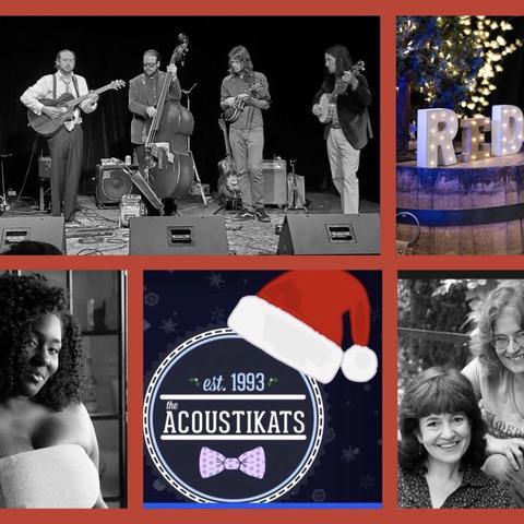 "photo of web banner for ""Red Barn Radio Holiday"" including Joslyn Hampton, acoUstiKats logo, Al, Alice and Ruth,Restless Leg String Band"