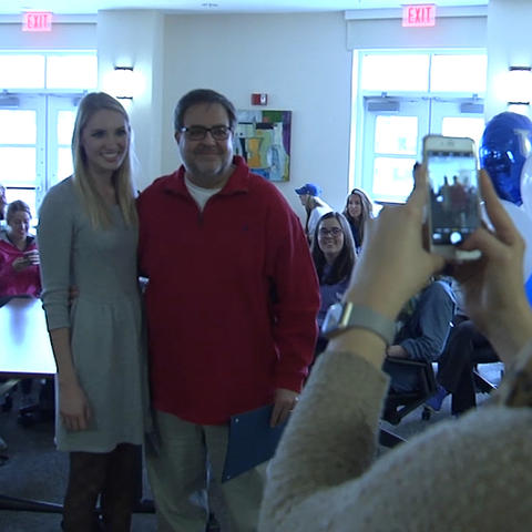 Photo of Shannon Sodergren, student, with Richard Andreatta, professor