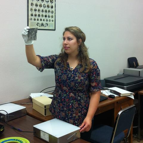 photo of an intern working with a document in SCRC Learning Lab