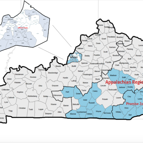 Map of Kentucky with Appalachia highlighted