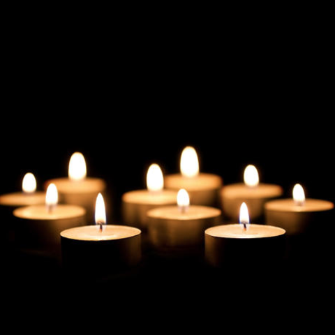 Lit candles.