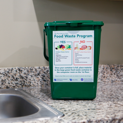 Food waste containers at University Flats