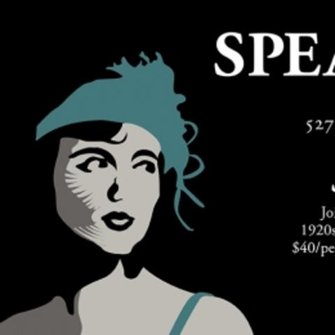 "photo of ""Speakeasy"" web slide with woman in 1920's attire"