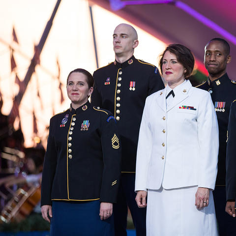 photo of Charis Strange and other military vocalists at Memorial Day Concert