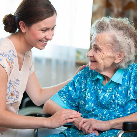 photo of caregiver and elderly woman