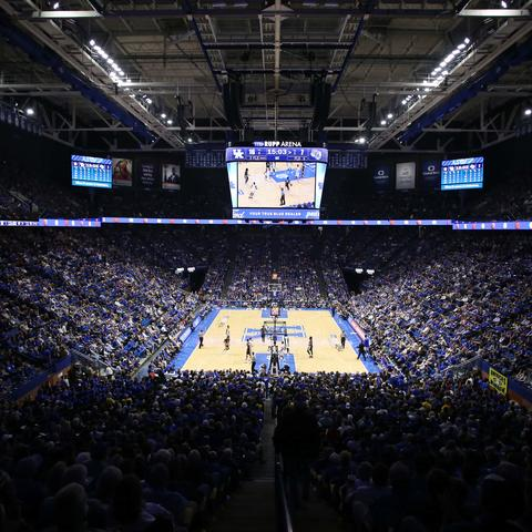 UK men's basketball in Rupp Arena.