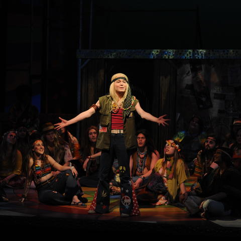 "photo of Patrick Garr performing in UK Theatre's ""Hair"""
