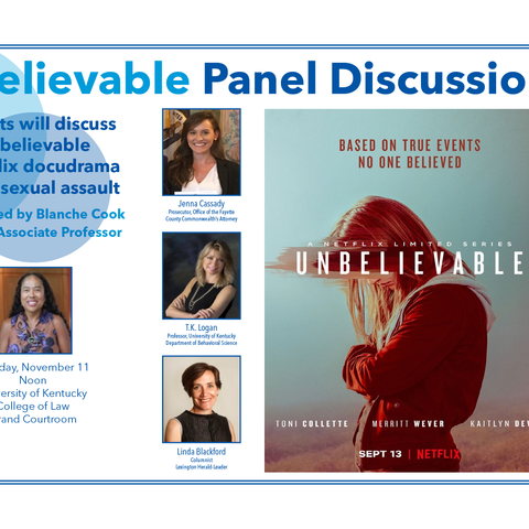 """Panel flyer featuring panelists headshots, names and titles as well as the Netflix poster for """"Unbelievable/"""""""