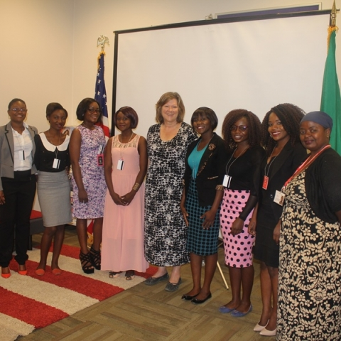 Photo of Beth Barnes in Zambia during a U.S. Embassy presentation.