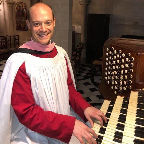 photo of Zach Ullery at organ