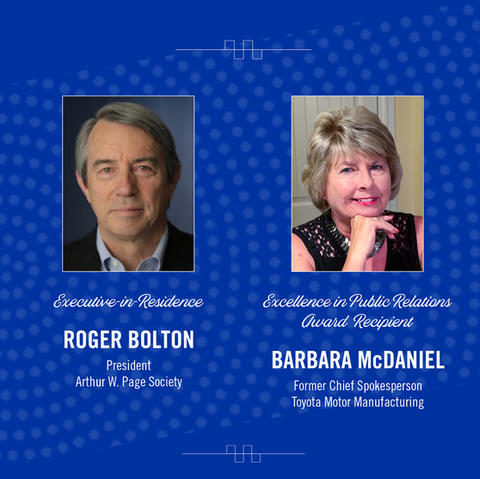 Roger Bolton, president of the Arthur W. Page Societythe premier global professional association for senior corporate communication executives, will present the James C. Bowling Executive-in-Residence Lecture.