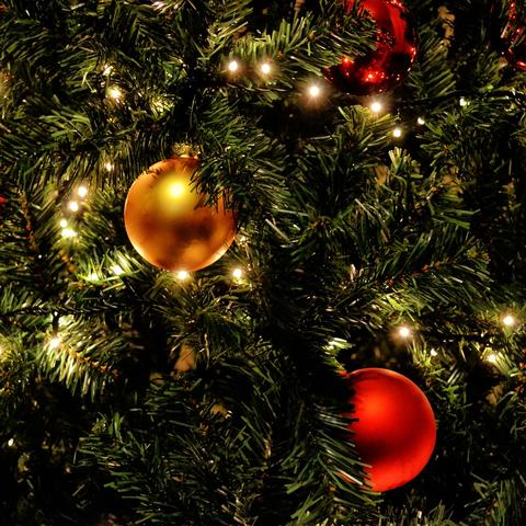 Christmas tree with decorations and lights