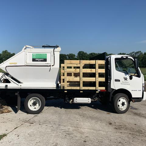 UK Recycling purchased a truck outfitted with an enclosed, self-dumping container and cart tipper to divert this new waste stream using funding secured from internal and external grants.