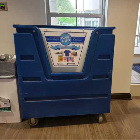 UK Recycling places Give and Go Donation Stations in the lobby of every residence hall on campus during the last two weeks of the semester.