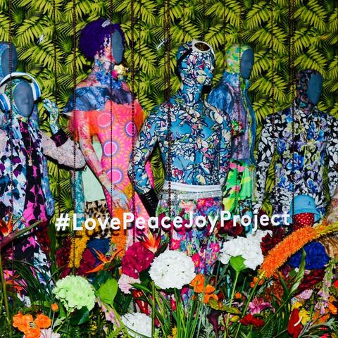 "photo of Ebony G. Patterson's holiday window at Barneys for ""#LovePeaceJoyProject"""